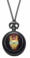 "Marvel Comics IRONMAN Face Glass Dome Pendant Watch on 30"" Chain"