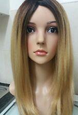 Dark Blonde, Human hair wig, ombre, Brown roots, long, golden blonde