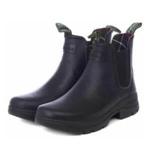 Barbour Men's Fury Chelsea Wellington Boots Black Rubber Beach Various Sizes