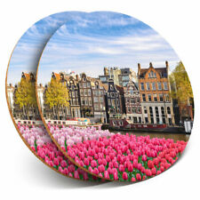 2 x Coasters - Amsterdam Netherlands Houses Home Gift #3035
