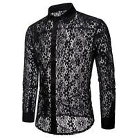 Mens Casual Mesh Sheer Lace Floral Long Sleeve Shirt T Shirt Tops Fancy Dress