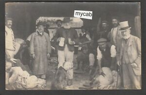 Postcard Brighton Sussex sheep shearing shepherds posted 1907 to Hamsey RP