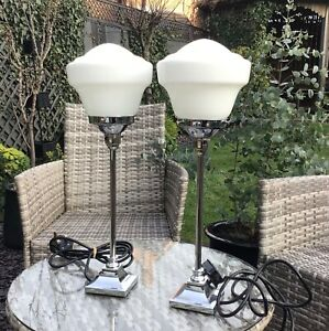 Pair Odeon style Art Deco chrome and milk glass table lamps, rewired.