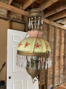 ANTIQUE MILLER HANGING OIL LAMP Electrified