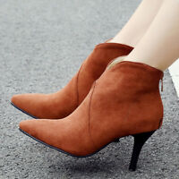 Women's Ankle Boots Big Size Faux Suede Pointed Toe Mid Heel Zipper Bootie Shoes