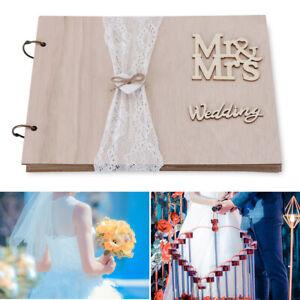 Memory Book Album Mr&Mrs Wedding Guest Book Rustic Wooden Signature Guestbook