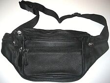 Unisex Genuine Cowhide black leather 5 pocket large fanny waist pack Free Ship