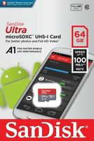 SanDisk® Ultra 64GB microSDXC™ UHS-I SD Card Speed up to 100MB/s C10 U1 A1 New