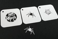 #1.2 Set di 3pcs Halloween stencil riutilizzabili a ragnatela Felice di testo FACCIA VERNICE