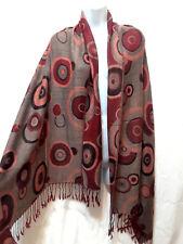 Red Pink Gray Target Bubble Circle Hoop Ring Pashmina Shawl Scarf Wrap