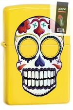 Zippo 24894 skull day of the dead lemon finish Lighter + FLINT PACK