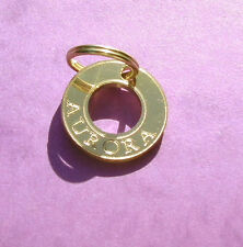 cat tag id gold colour brass pendant