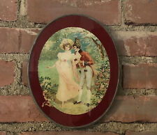 Antique Victorian Oval Picture Chimney Flue Hole Covering - Oval Fancy Flirting