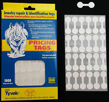 1000 PCS White Price Sticker Tags, Jewelry Round Barbell Labels Dumbbell tags
