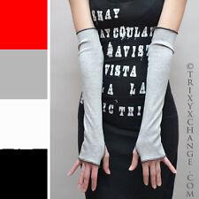 Womens Gray Cotton Fingerless Gloves Arm Wrist Hand Warmers Elbow Mittens 1079