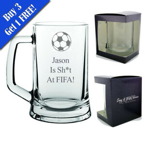 Personalised Engraved Funny Tankard Beer Glass! (Name) Is Sh*t At Fifa! Gift