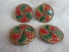 Set of 4 (FOUR) Beautiful 36mm Czech Glass Button RED & GREEN Lot F AMAZING