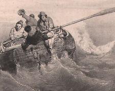 1840 lithographie Eugène Le Poittevin les pilotes du Mordyck naufrage bateau
