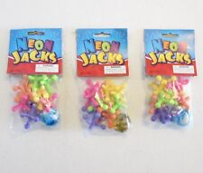 3 SETS OF NEW LARGE SIZE NEON JACKS AND RUBBER BOUNCE BALL GAME CLASSIC KIDS TOY