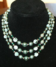 Vintage Estate 50's 60's Triple Strand Blue/Green Glass Beaded Necklace