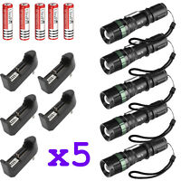 5x Ultrafire Tactical 15000LM T6 LED Zoomable Flashlight + 18650&Charger&Holder