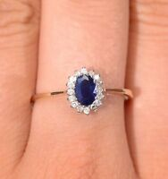 Sapphire and Diamond Ring 18k Yellow Gold Engagement Cluster Halo Certificate