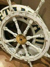 36'' Hand Painted Wooden Ship Wheel Distressed White Nautical home Decor Gift