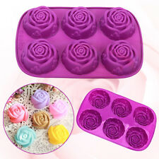 6 Rose Silicone Cake Baking Mold Pan Muffin Cups Soap Moulds Ice Cubes Tray