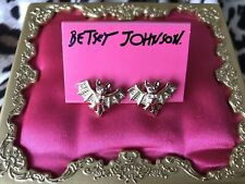 Betsey Johnson Vintage Vampire Slayer Gold Bat Stud Crystal Earrings VERY RARE