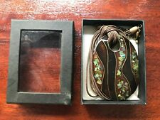 Retro Hand Venetian Art Glass Pendant Necklace Brown with Mother of Pearl