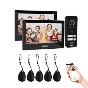 """TMEZON 1080P Wlan Video Türsprechanlage 7"""" IP Monitor 4-Draht für 2 Familienhaus"""