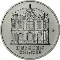DDR 5 Mark Gedenkmünze 1985 stgl. Wallpavillion - Dresden Zwinger in Münzkapsel