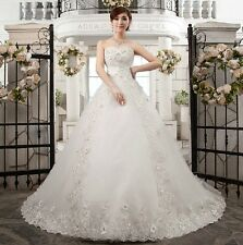 New White/Ivory Wedding Dress Prom Bridal Gown Custom Size 4-6-8-10-12-14-16++