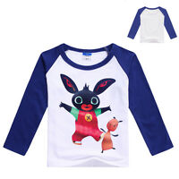 BING BUNNY Kids White Long-Sleeved T-Shirt w/Colour Sleeves - in 4 Colours 2-4YR