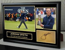 """Jordan Spieth The Open 2017 Golf Framed Canvas Tribute Print Signed """"Great Gift"""""""