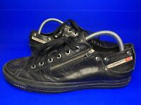 Diesel Expo Zip Low Black Leather Lace Up Casual Trainers UK 9.5 EU 44 vgc