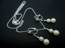 AN IVORY PEARL WEDDING BRIDESMAID NECKLACE AND CLIP ON  EARRING SET. NEW.