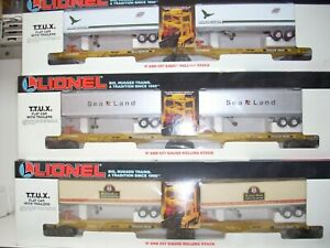 LIONEL 3 RAIL O GAUGE 3 TTUX CARS WITH TRAILERS
