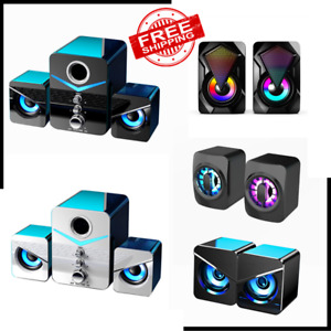 for Desktop Computer Surround Sound System LED PC Speakers Gaming Bass USB Wired