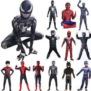 Spiderman Venom Kids Boy's Superhero Jumpsuit Cosplay Fancy Dress Hero Costume