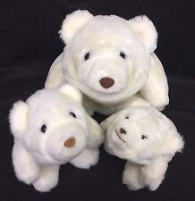 "Gund Snuff Snuffles 6"" 7"" 10"" White Polar Teddy Bear Plush Set Lot Vintage 1980"