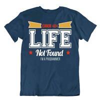 Computer Error Tshirt Programmer T-Shirt Life Not Found Tee Coder Shirt