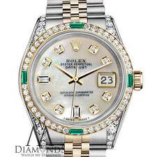 Women's Rolex Steel & Gold 26mm Datejust White MOP Emerald Diamond Dial Watch