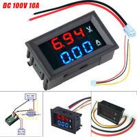 DC 100V 10A Voltmeter Ammeter Blue Red LED Amp Dual Digital Volt Meter Gauge New