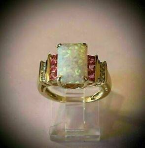 3.50 Ct Emerald Cut Fire Opal & Red Ruby Engagement Ring 14K Yellow Gold Finish
