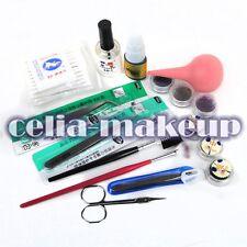 False Individual Extension Black Eyelashes Glue Remover Tweezer Kit Set