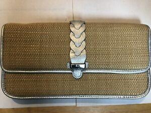 Cole Haan Izzie Bedford Straw/leather Clutch Retail $128