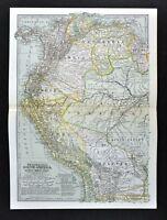 1902 Century Map Ecuador Peru Bolivia Colombia Chile Brazil Amazon South America