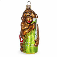 Drunk Monkey with Wine Bottle Glass Christmas Ornament