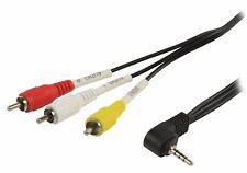 2 M Angle Droit 3.5 mm Jack 4 Pole À 3 X RCA Phono Audio Vidéo Caméra à Câble TV
